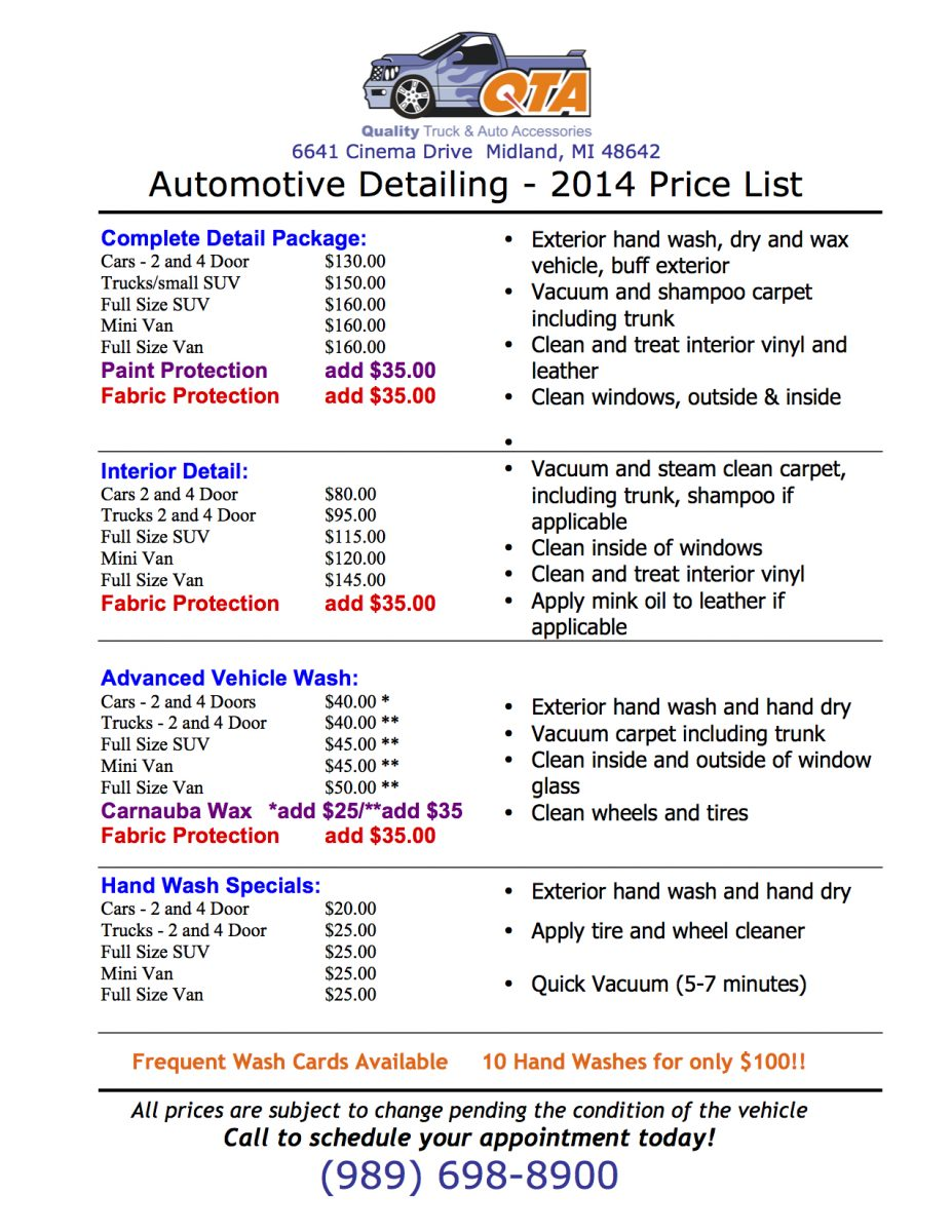 Qta Detailing Price List Quality Truck And Auto